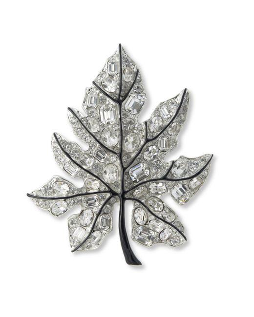 Kenneth Jay Lane | Metallic Crystal Leaf Brooch | Lyst