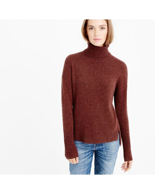 J.Crew | Brown Relaxed Wool Turtleneck Sweater With Rib Trim | Lyst