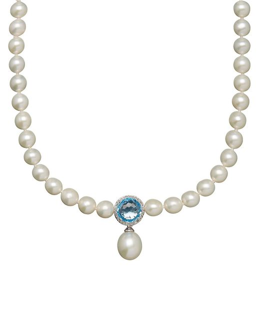 Lord & Taylor 7-16mm White Freshwater Pearl, Blue Topaz