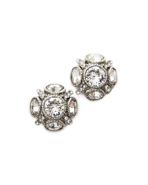 Oscar de la Renta | Metallic Classic Button Earrings | Lyst