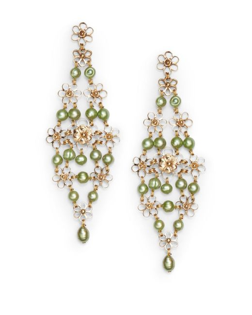 Stephen Dweck | 5mm Green Pearl & Bronze Trellis Earrings | Lyst