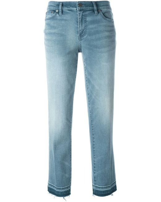Tory burch Frayed Hem Cropped Jeans in Blue