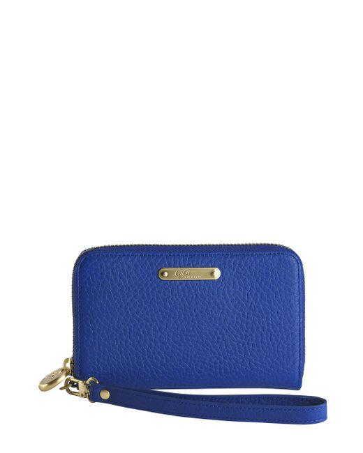 Gigi New York | Blue Pebbled Leather Phone Wristlet | Lyst