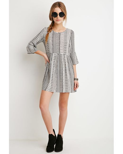 Forever 21 | Natural Print Smock Dress | Lyst