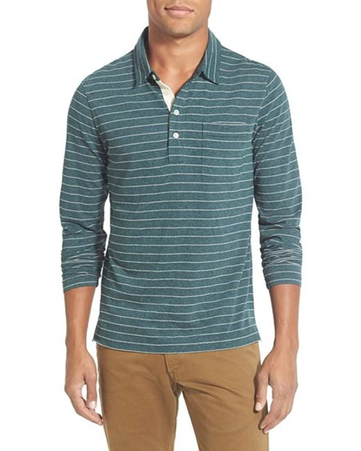 Billy Reid   Green 'pensacola' Stripe Long Sleeve Polo for Men   Lyst