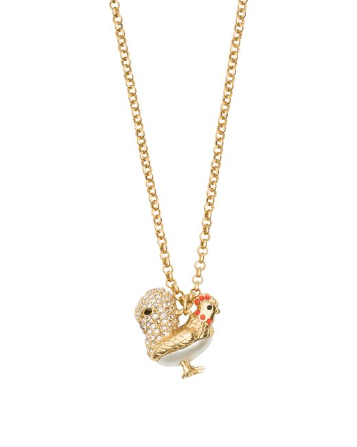 kate spade zodiac spirit animals rooster pendant in beige