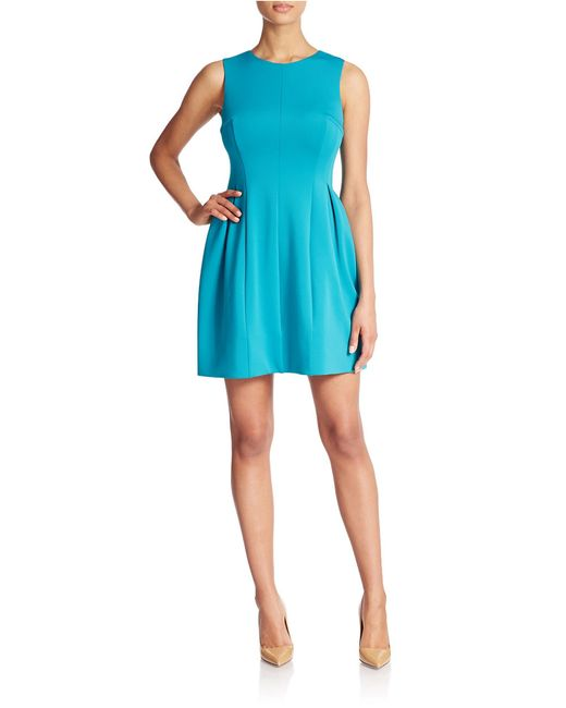 Calvin Klein | Green Seamed A-line Dress | Lyst