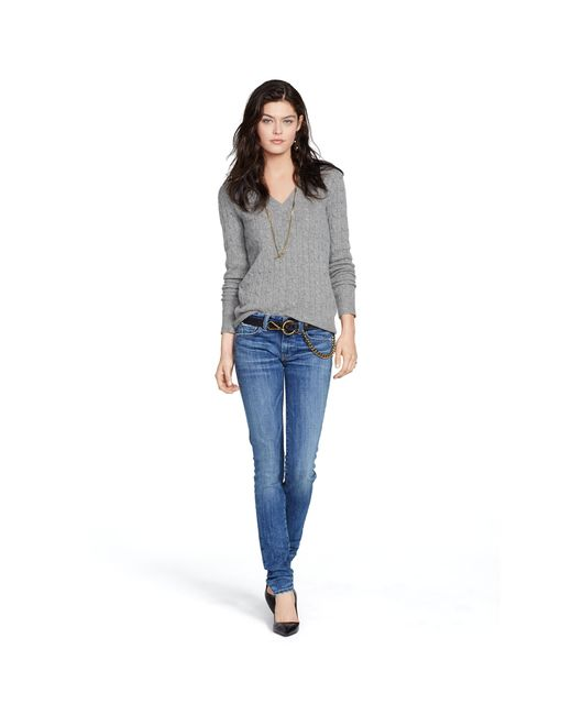 Polo Ralph Lauren | Gray Cabled Cashmere V-neck Sweater | Lyst