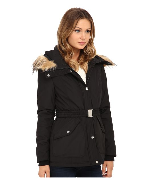Jessica Simpson | Black Belted Polybonded With Faux Fur | Lyst