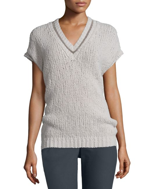 Brunello cucinelli Dolman-sleeve Knit Pullover Sweater in ...