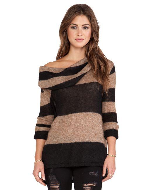 Free People | Brown Lulu Rugby Stripe Cowl Sweater | Lyst