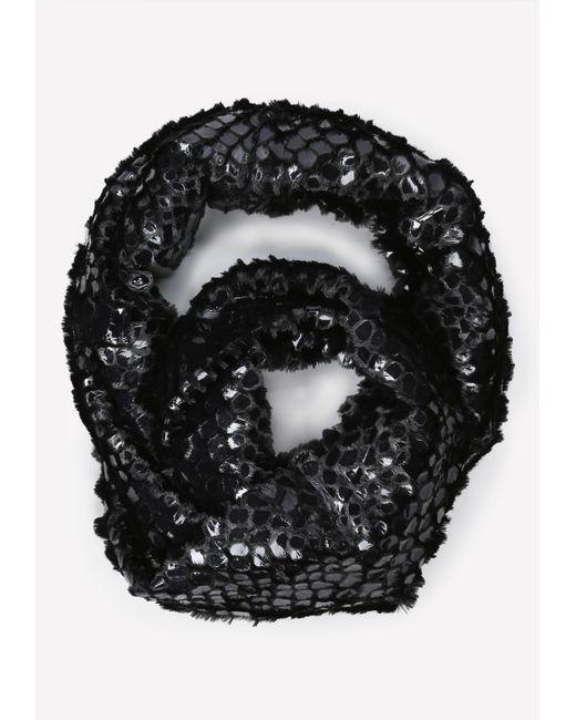 Bebe | Black Faux Fur Infinity Scarf | Lyst