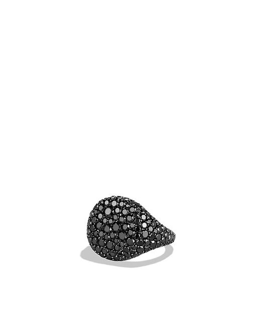 David Yurman | Pavé Pinky Ring With Black Diamonds In 18k White Gold | Lyst