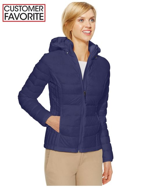 32 Degrees Hooded Packable Down Puffer Jacket In Blue