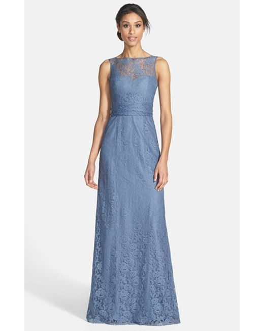 Amsale | Blue Illusion Yoke Lace Gown | Lyst