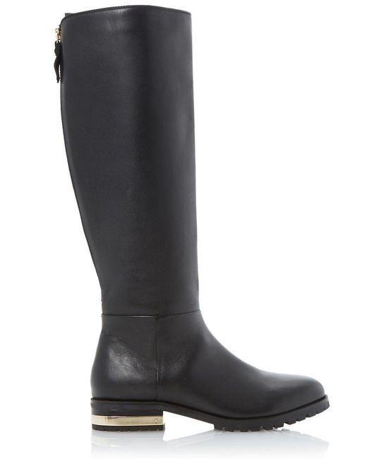 dune taite leather knee high boots in black save 41 lyst