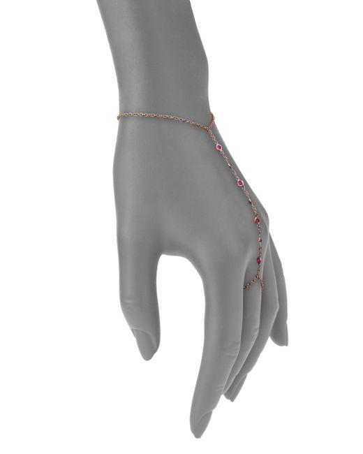 Jacquie Aiche   Pink Ruby & 14k Rose Gold Bezel Hand Chain Bracelet   Lyst