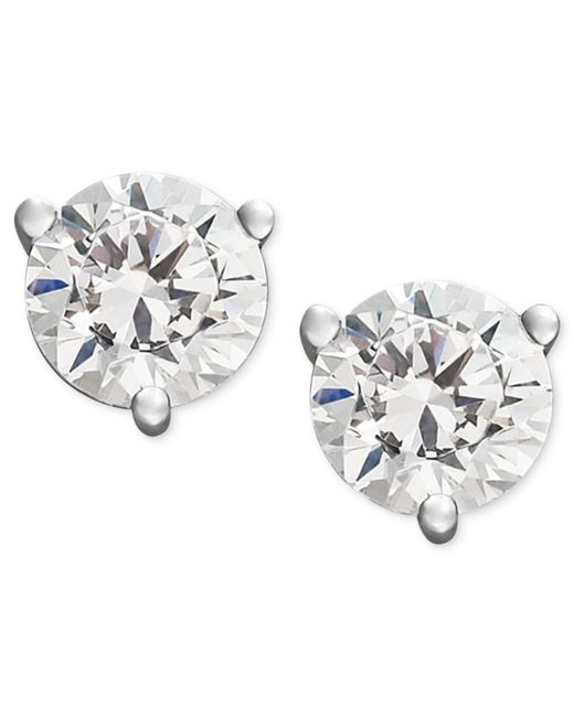 Macy's | Metallic Certified Near Colorless Diamond Stud Earrings In 18k White Gold Or Gold (1/4 Ct. T.w.) | Lyst
