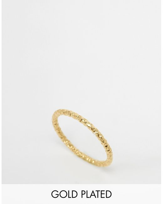 Dogeared | Metallic Gold Plated Midi Love Sparkle Ring - Gold | Lyst