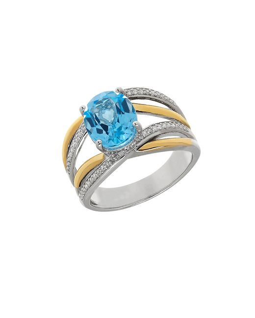 Lord & Taylor | Blue Topaz, Sterling Silver And 14k Yellow Gold Crisscross Ring | Lyst