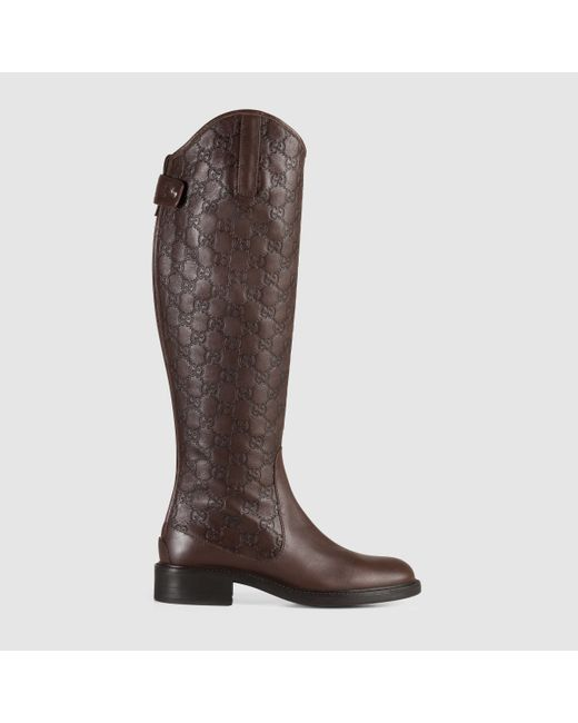 Gucci | Brown Maud Leather Knee-High Boots | Lyst