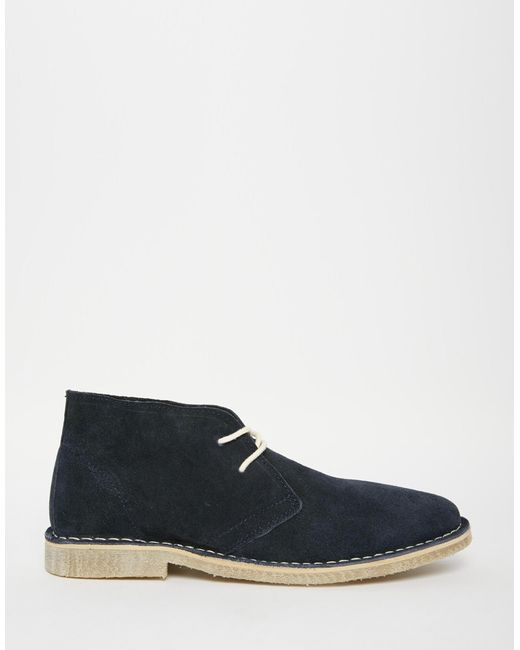 asos desert boots in navy suede in blue for navy lyst