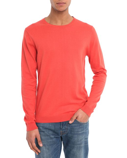 SELECTED   Red Two-tone Patch Round-neck Sweater for Men   Lyst