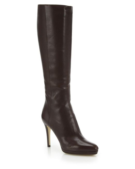 Jimmy Choo | Brown Glynn Leather Knee-high Boots | Lyst