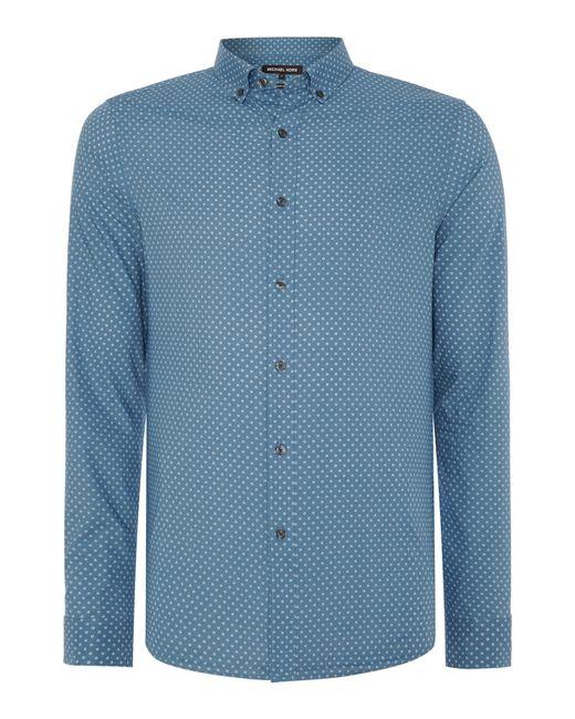 Michael Kors | Blue Troy Slim Micro-diamond Pattern Shirt for Men | Lyst
