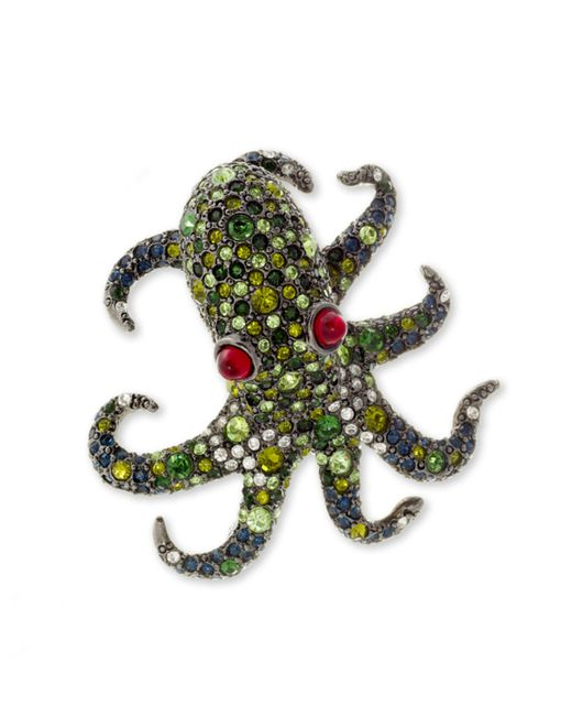 Kenneth Jay Lane | Multicolor Multi Green Pavé Octopus Brooch | Lyst