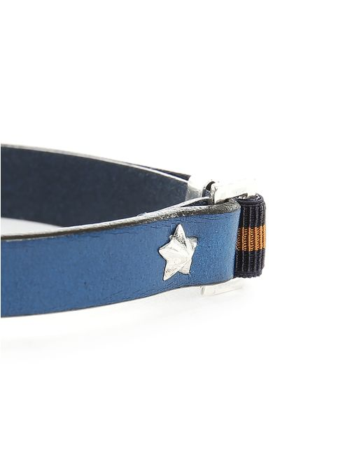 Gilbert Gilbert | Hen 13 Blue Leather Adjustable Bracelet And Stretch Band for Men | Lyst