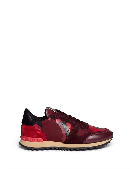 Valentino | Red Rockrunner Paneled Camouflage Low-Top Sneakers | Lyst