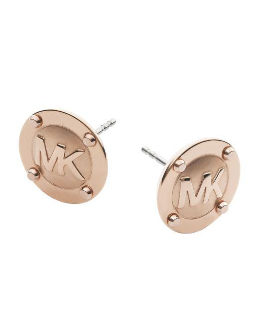 Michael Kors | Metallic Heritage Rose Gold Logo Stud Earrings | Lyst
