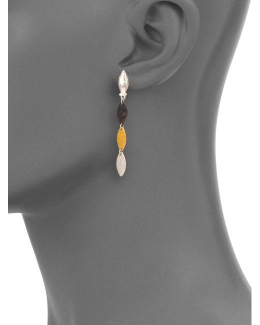 Gurhan | Metallic Willow 24k Yellow Gold & Sterling Silver Leaf Flake Linear Drop Earrings | Lyst