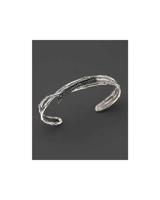 John Hardy | Metallic Women's Sterling Silver Bamboo Lava Narrow Squeeze Cuff With Black Sapphires | Lyst