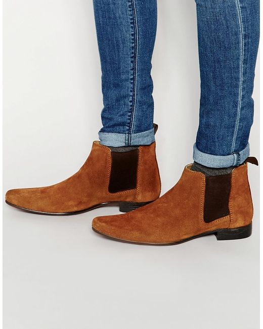 Asos Chelsea Boots In Tan Suede With Back Pull Brown For Men Tan