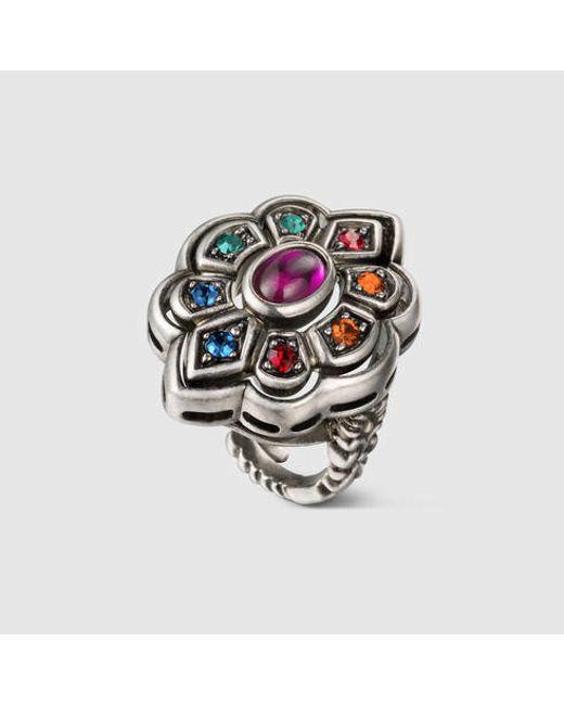 Gucci | Metallic Ring With Swarovski Crystals | Lyst