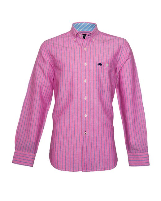 raging bull stripe long sleeve button down shirt in pink