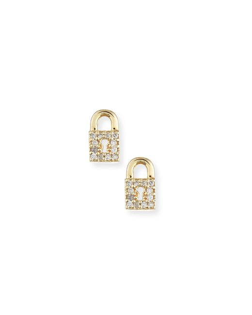 Sydney Evan | Metallic 14k Diamond Lock Single Stud Earring | Lyst