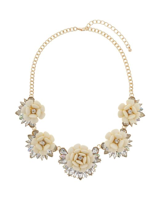 Mikey | White Multi Enamel Flower Linked Necklace | Lyst