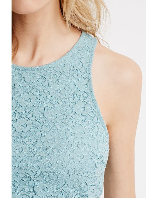 Forever 21 | Blue Lace Crop Top | Lyst