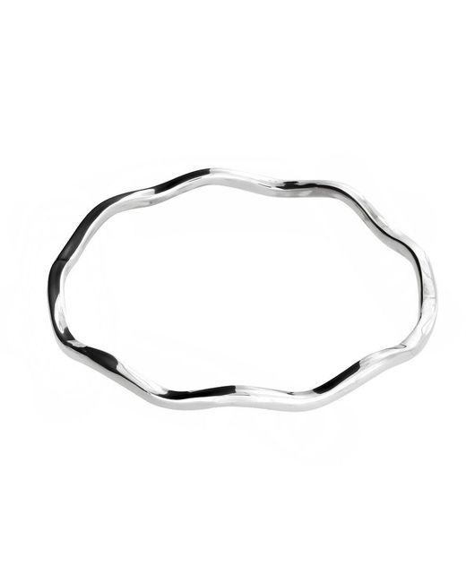 Azendi | Metallic Sterling Silver Wavy Bangle | Lyst