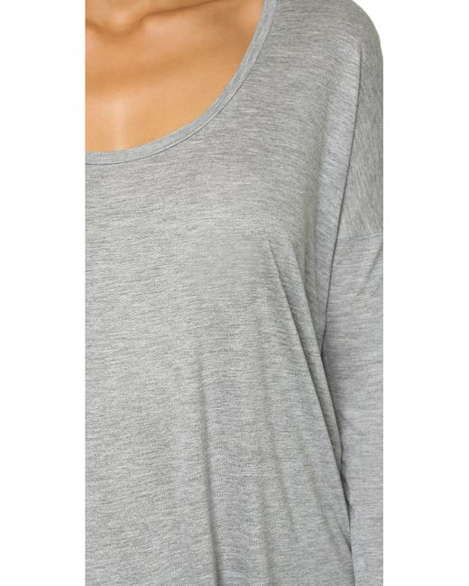 T By Alexander Wang | Gray Classic Low Neck Longsleeve Tee | Lyst