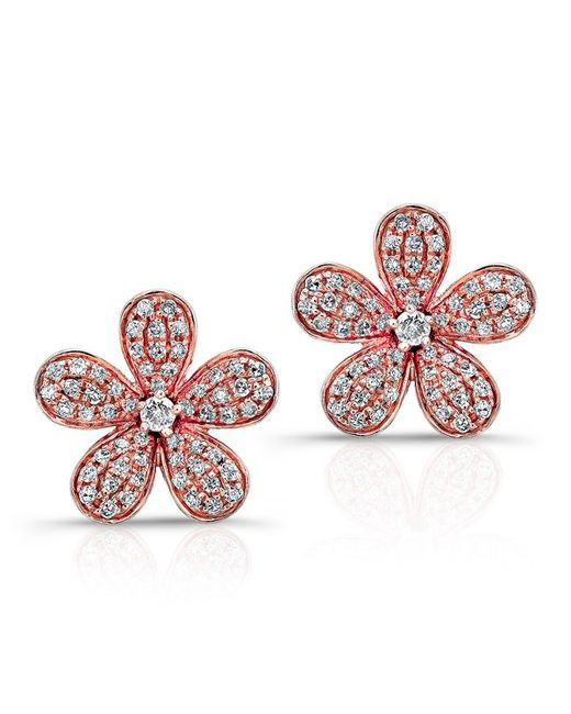 Anne Sisteron - Pink 14kt Rose Gold Diamond Flower Earrings - Lyst