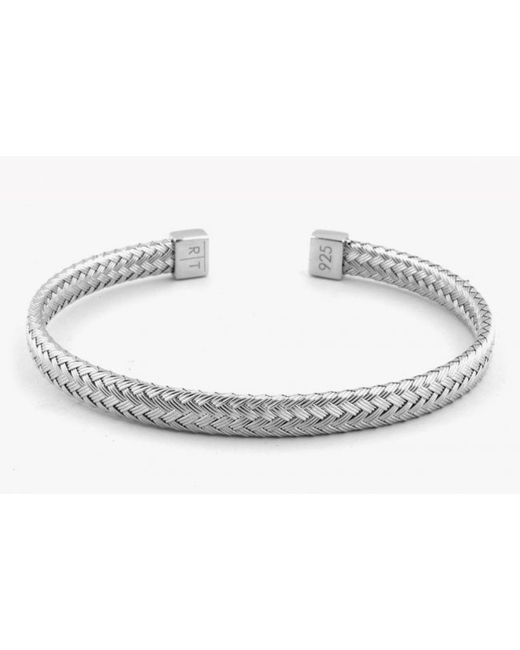 Tateossian | Metallic Slim Intrecciato Bracelet In Tightly Weaved Rhodium Plated Silver With Silver Casp for Men | Lyst