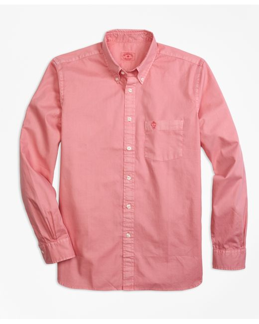 Brooks brothers garment dyed sport shirt in pink for men for Brooks brothers sports shirts