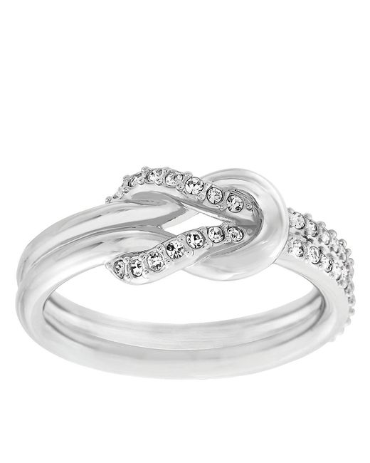 Swarovski | Metallic Voile Silver Tone And Crystal Knot Ring | Lyst