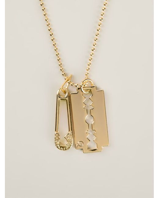 McQ | Metallic Safety Pin And Razor Blade Necklace | Lyst