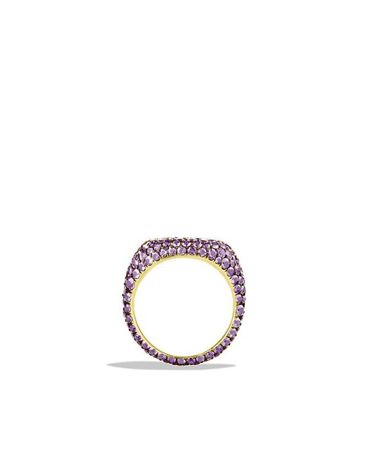 David Yurman | Pavé Pinky Ring With Purple Sapphires In 18k White Gold | Lyst