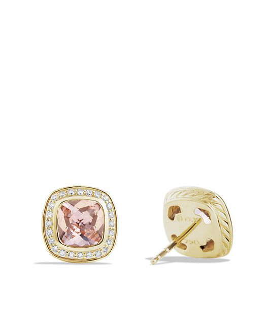 David Yurman | Pink Albion Earrings With Morgganite And Diamonds In 18k Gold, 7mm | Lyst